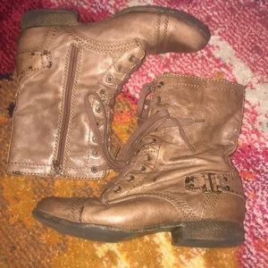 Nine West brown leather combat boots